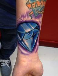 手腕处一颗超闪的钻石纹身