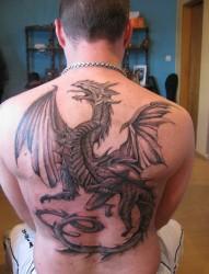 背部帅气的飞龙纹身