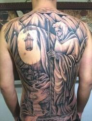 超级个性的满背死神纹身