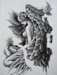 时尚潮流的天使纹身手稿