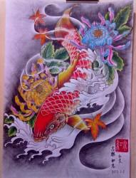 菊花鲤鱼纹身手稿