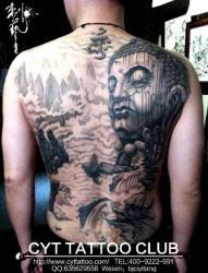 经典原创满背佛纹身
