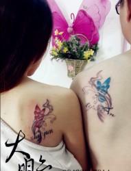 情比金坚的情侣蝴蝶纹身