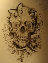 一款时尚个性的骷髅纹身