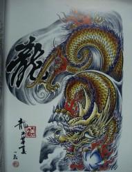 彩色半甲纹身手稿欣赏合集