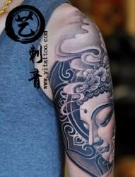 手臂纹身  半甲纹身  佛纹身  真艺作品