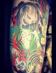 腿部妖怪纹身
