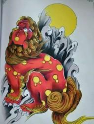经典的唐狮纹身手稿欣赏