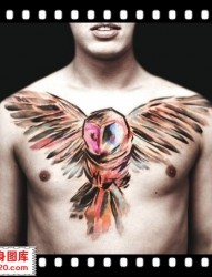 胸口猫头鹰纹身 大V纹身 渝北区纹身店 南坪纹身 纹身培训