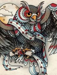 远航纹身,石湖荡纹身店,欧美猫头鹰纹身图片