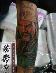 花臂关二爷纹身图案  赤焰堂纹身
