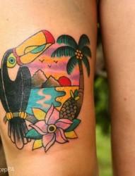 女性腿部个性的大嘴鸟纹身