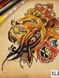 欧美风时尚狮子纹身手稿
