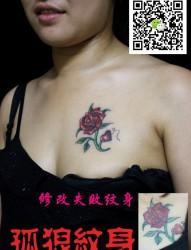 美女性感胸部玫瑰花纹身 宝坻孤狼纹身工作室作品 宝坻纹身 天津纹身