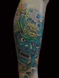 小腿武士纹身图案