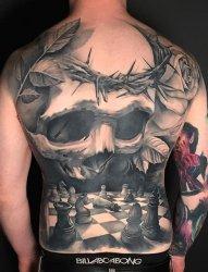 一组生病骷髅头纹身图案