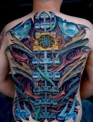多款男性帅气的生物机械齿轮图案纹身图片