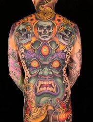 12款大面积吓人的大黑天护法图案纹身