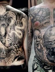 男士背部胸部大气的纹身