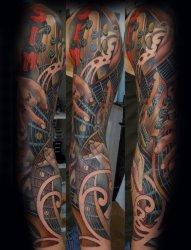 男性的摇滚音乐主题风格花臂纹身图案