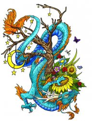 漂亮的传统蓝色龙纹身手稿