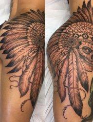 女性臀部上帅气的印第安骷髅头纹身图片