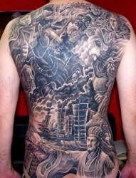 满背三国纹身图案
