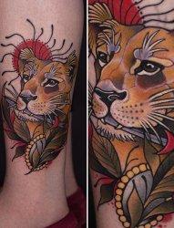 艳丽的新传统风格动物纹身图案来自于纹身师玛雅