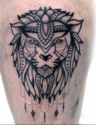 14款庄严宏伟的狮子头纹身图案
