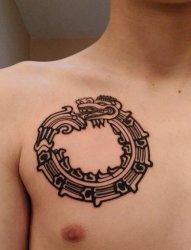 男性胸部黑色衔尾蛇纹身动物几何图腾纹身图片