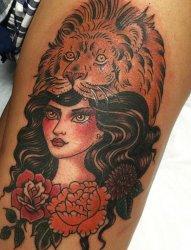 多方面女人的传统人物肖像纹身图案