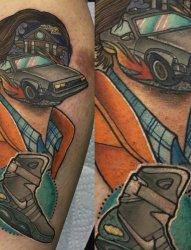 超现实主义和流行文化结合的人物头像头纹身图案