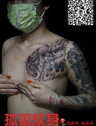 美女半胛般若纹身 天津宝坻孤狼纹身老狼作品