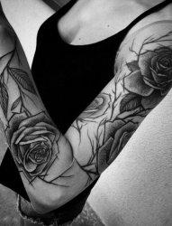 女性手臂线条纹身点刺技巧文艺花臂纹身素描技巧纹身图案