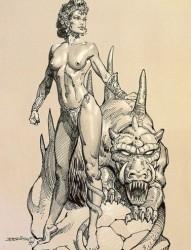 美女和野兽的组合纹身手稿