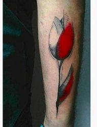 8款女生文艺小清新花郁金香纹身图案