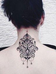 女生颈后黑色线条文艺小清新唯美纹身图案
