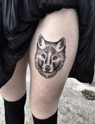 一组关于狼的黑色素描创意霸气纹身图案