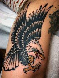 女生小腿上黑色素描创意个性老鹰纹身图片