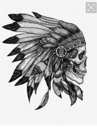 适合男生的黑灰色骷髅头与印第安头饰纹身手稿素材