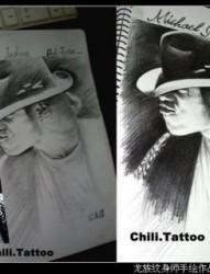 一款酷炫的龙族人物手绘纹身手稿素材