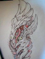 超具设计感的彩绘素描霸气翅膀纹身手稿
