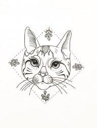 黑色素描几何元素菱形树叶框中创意花纹猫咪纹身手稿