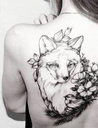 活泼可爱的黑色素描风格小动物狐狸纹身图案
