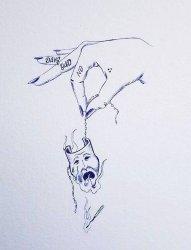 简单线条勾勒的手部英文单词和面具纹身手稿