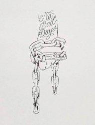 黑色线条素描创意手与链子花体英文纹身手稿