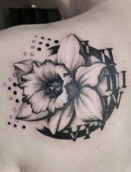 花香浓郁的彩绘植物素材水仙花朵纹身图案
