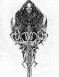 黑色素描风格镰刀死神纹身手稿