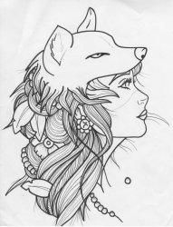 漂亮的黑色狐狸头女人简单线条纹身手稿