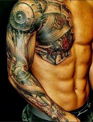 男生手臂上黑色素描点刺技巧创意个性花臂纹身图案